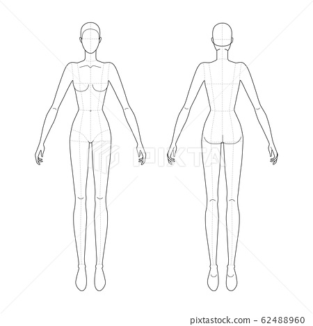 Fashion template of standing women.  62488960