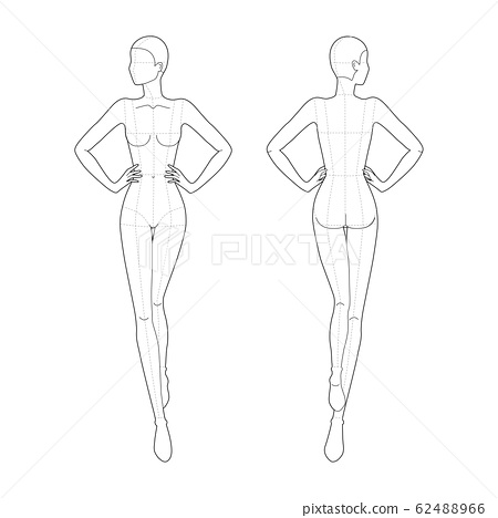 Fashion template 9 head for technical drawing with main lines.  62488966