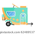Flat vector classic camper trailer. Recreational vehicle. Home on wheels. Comfort Caravan van for RV Family trip to nature. Vector illustration for web design or print 62489537