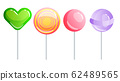 Set of sweets on white background - hard candy and bar, candy cane, lollipop, candy on stick. Tasty delicious. Vector illustration 62489565