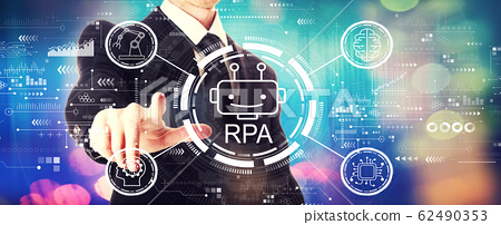 Robotic process automation concept with a businessman 62490353