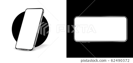 Smartphone mockup. 3D realistic cell phones mockups with blanks screens. Vector isolated set. Mockup generic device. Mobile phones. Top view. Isometric view. Black 62490372