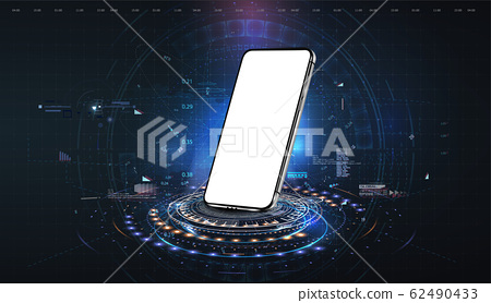 Realistic smartphone in perspective mockup with futuristic technology concept, mobile phone abstract background . 3D realistic cell phone. Vector futuristic 62490433