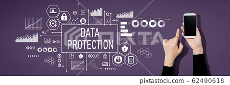Data protection concept with person using a smartphone 62490618