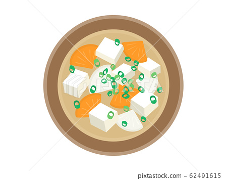 Illustration of miso soup of radish and carrot 62491615