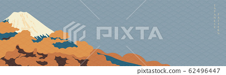 Fuji mountain banner with Japanese wave pattern vector. Oriental background with Asian sightseeing wallpaper.  62496447