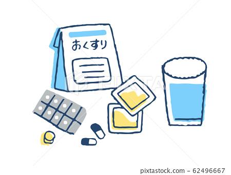 處方藥和杯水 62496667