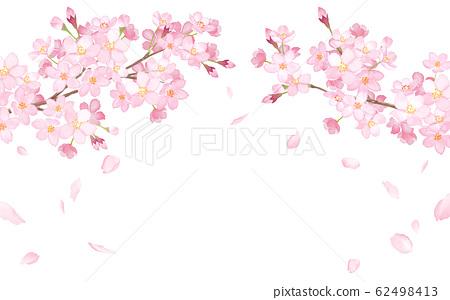 春天的花朵:櫻花和落花瓣的拱形框架-水彩插圖痕跡矢量 62498413