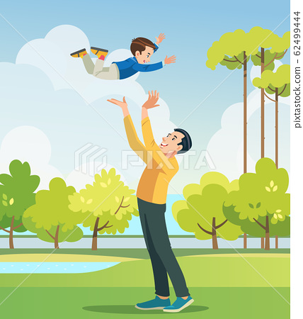 Father and son playing in the park. People having fun on the field. Concept of friendly family and of summer vacation. Vector cartoon illustration 62499444