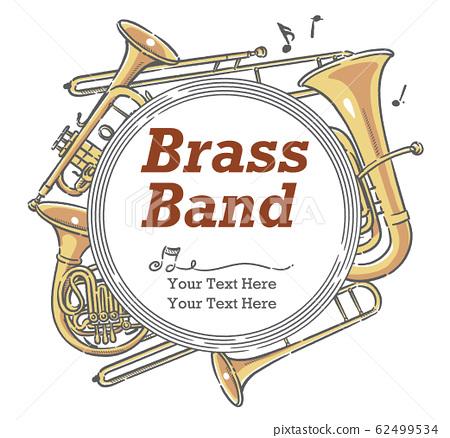 使用樂器插圖設計可用於音樂會海報等的材料 62499534