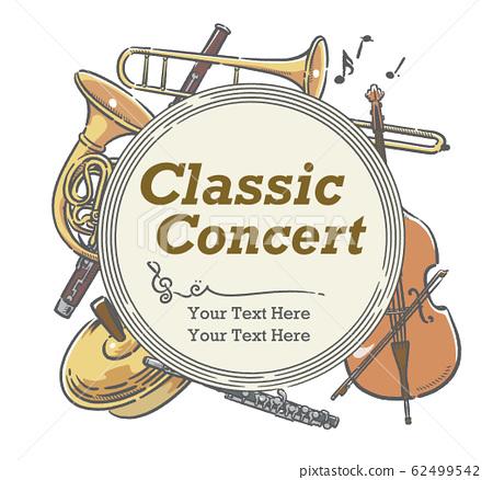 使用樂器插圖設計可用於音樂會海報等的材料 62499542