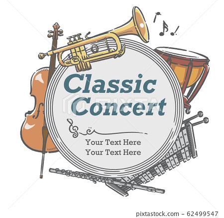 使用樂器插圖設計可用於音樂會海報等的材料 62499547