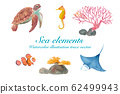 各種海洋生物(海龜,蝠ta,小丑魚,海馬,珊瑚)水彩插圖 62499943