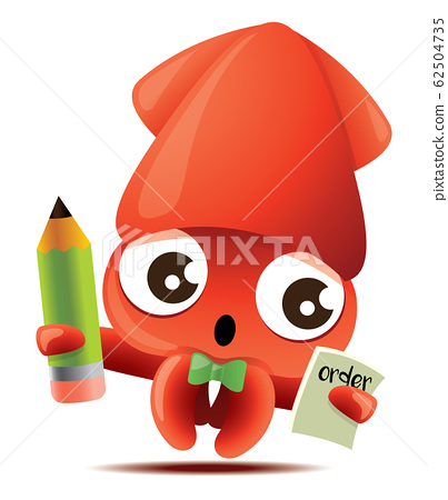 Cartoon cute squid with green bowtie taking meal order with green pencil, vector mascot character - vector  62504735