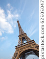 The Eiffel tower from the river Seine in Paris 62505047