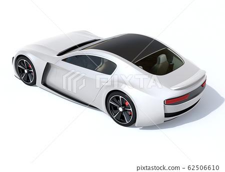 銀色電動運動跑車在白色背景上的背面圖像 62506610