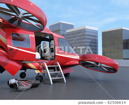 A large passenger drone waiting at the drone port. Flying taxi concept 62506614