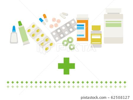矢量藥和十字標記 62508127