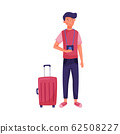 Traveling Dark-haired Young Man Standing Near Suitcase Holding Camera Vector Illustration 62508227