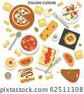 Italian cuisine, collection of traditional dishes and meals 62511308