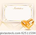 Wedding invitation width golden rings in retro 62511594