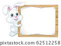 Easter Bunny Rabbit Sign Background Cartoon 62512258