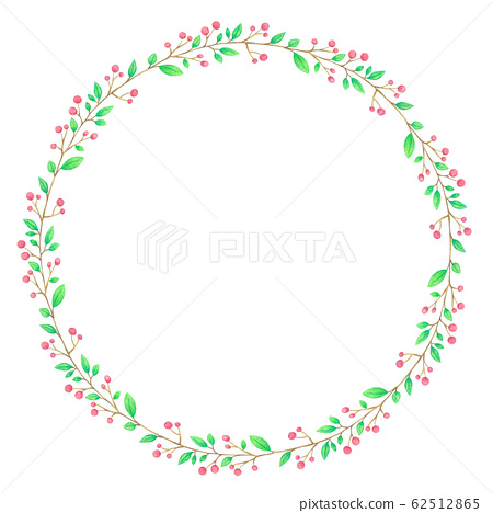 Watercolor Wreath Of  Red Fruits And Ribbon Hand Painted 62512865