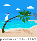 Panoramic tropical seascape with blue ocean and coconut palm, swing on palm tree, sailboat. 62513326