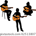 silhouettes of girl playing acoustic guitar 62513807