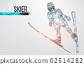 Silhouette of a skier jumping isolated. Dots, lines, triangles, text, color effects and background on a separate layers, color can be changed in one click. Vector illustration 62514282