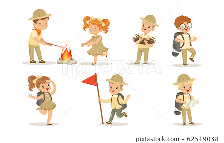 Clipart of Girl Scouts Planting a Tree by a Camp Site by BNP Design Studio  - #97