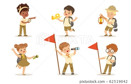 Boy and girl scout camping in forest - Download Free Vectors, Clipart  Graphics & Vector Art