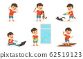 Cute Bully Boy in Different Situations Set, Funny Hoodlum Little Kid, Bad Child Behavior Vector Illustration 62519123