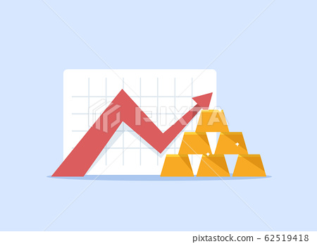 Gold price in the stock market,flat design icon vector illustration 62519418