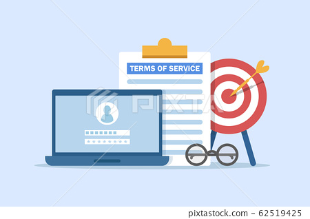 terms of service contract document signed,Clipboard with terms of service document 62519425