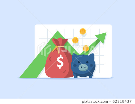revenue increase,Compound interest, added value,flat design icon vector illustration  62519437