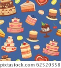 Wedding cakes seamless pattern of sweet baked vector isolated cakes. Strawberry cake for holiday, chocolate cake for gourmet, birthday celebration cherry cake bakery with fruit. 62520358
