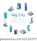 Set of 3d isometric skyscrapers, big city houses and tall buildings icons for map building, vector illustration. Real estate concept. 62520377