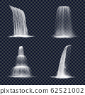 Realistic mountain waterfall on transparent 62521002