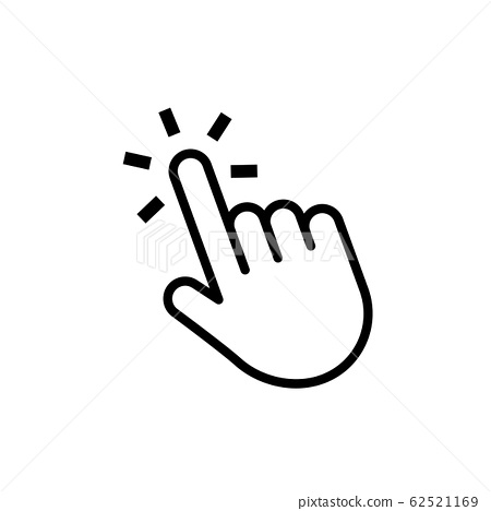 Hand click button. Mouse cursor. Web pointer press or touch website element. Vector computer navigation. Thin line icon isolater on white background 62521169