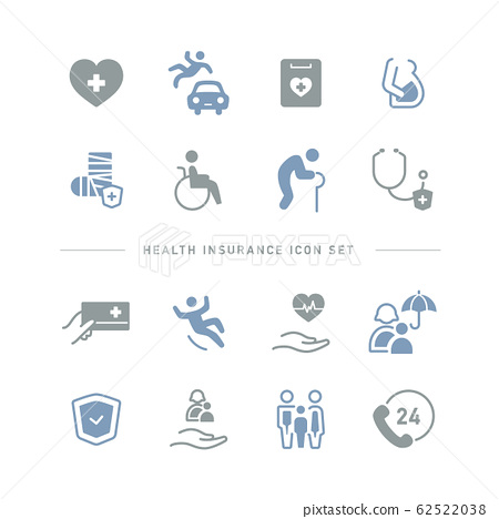 HEALTH INSURANCE ICON SET 62522038