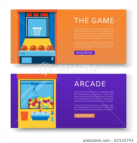 Game machines banners set vector illustration. Arcade games, hunting, fishingand baseball where gamesome gambler or gamer play in computer machinery. 62526745