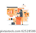 Business woman giving a speech showing sales statistics graphs on presentation screen. Flat style color modern vector illustration 62528586