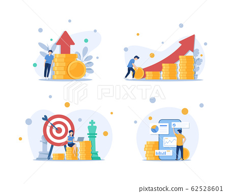 Investment and Analysis Money Cash Profits Metaphor,Employee or Manager Making Investing Plans 62528601