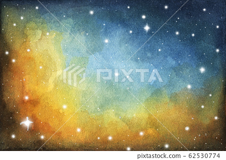 Watercolor colorful starry space galaxy nebula background. 62530774
