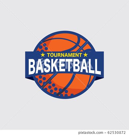 Basketball Tournament Logo White Ball Sport American Game Vector Illustration 62530872