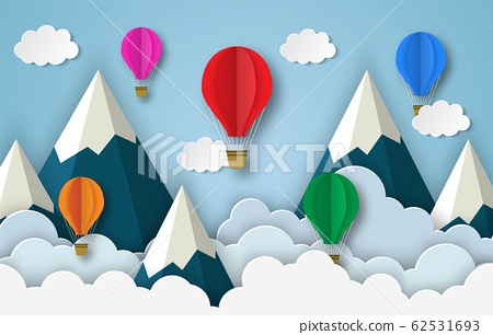 colorful hot air balloons flying 62531693