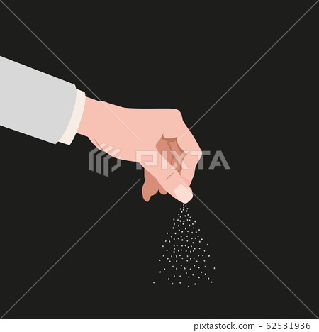 Human hand salting, salts, spice. Cooking gesture sprinkle vector isolated cartoon style illustration 62531936
