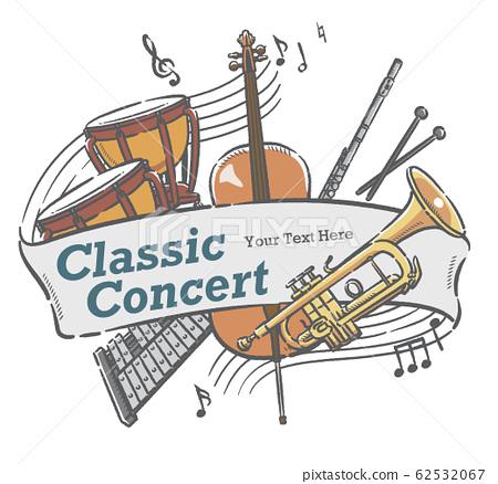 使用樂器插圖設計可用於音樂會海報等的材料 62532067