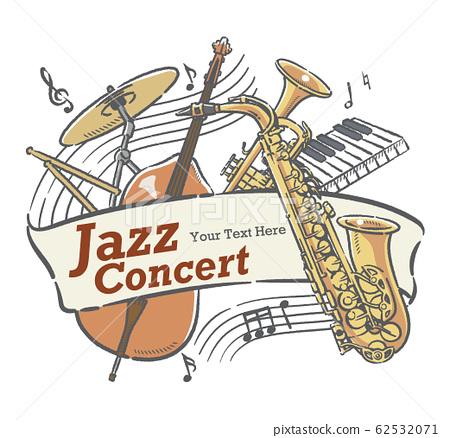 使用樂器插圖設計可用於音樂會海報等的材料 62532071